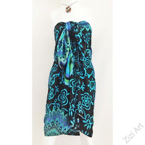 sarong, fekete. kék, azúr, színes, kendő, sál, strandkendő, pareo, mandala