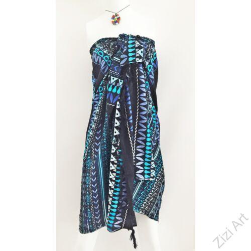 sarong, fekete. kék, azúr, színes, elefántos, nyár, kendő, sál, strandkendő, pareo, viszkóz