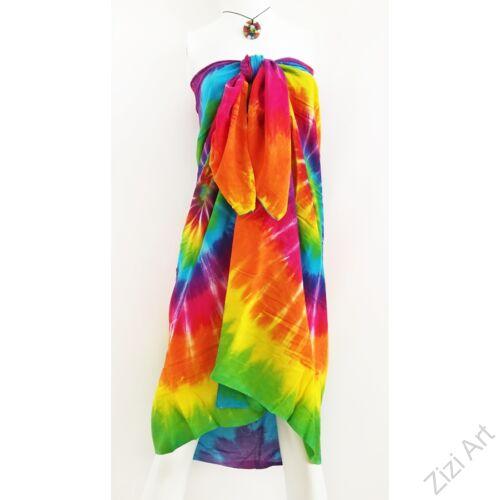 szivárványos, színes, élénk, sarong, kendő, sál, nyár, strand, trend, női, divat, indonézia