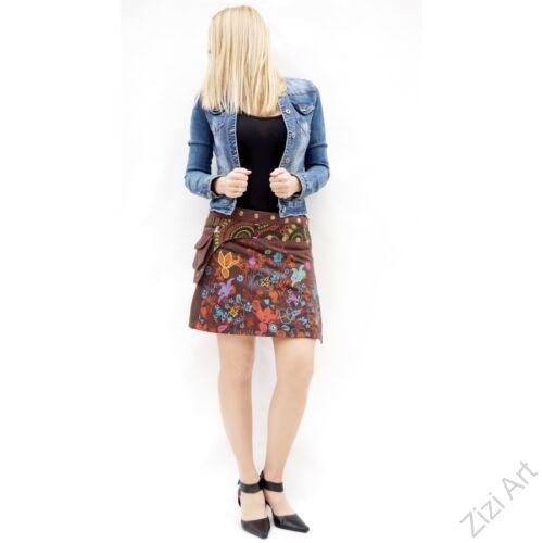 pamut, barna, pillangó, mintás, színes, mini, szoknya, hímzett, oldalzsebes, bohém, egyedi, extravagáns, női, divat, trend