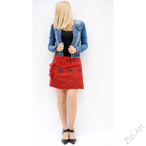 pamut, piros, virág, mandala, mintás, színes, mini, szoknya, hímzett, oldalzsebes, bohém, egyedi, extravagáns, női, divat, trend