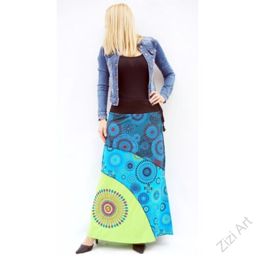 zöld, kiwi, kék, színes, mandalás, hosszú, A-vonalú, pamut, szoknya, női, divat, trend, extravagáns, hippi, bohém
