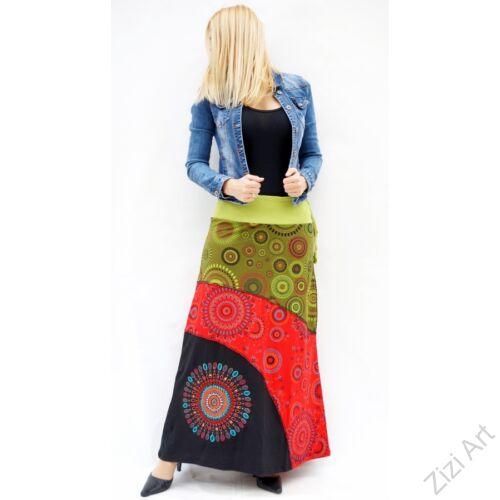 piros, fekete, zöld, kiwi, színes, mandalás, hosszú, A-vonalú, pamut, szoknya, női, divat, trend, extravagáns, hippi, bohém