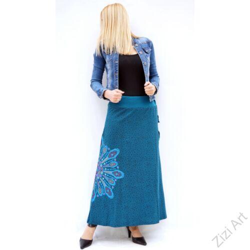 kék, színes, mandalás, hosszú, A-vonalú, pamut, szoknya, női, divat, trend, extravagáns, hippi, bohém