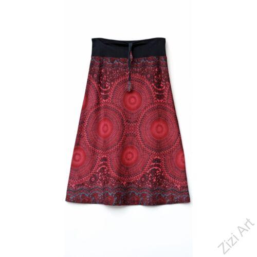 hosszú, A-vonalú, pamut, szoknya, színes, mandala, mintás, piros, bordó, fekete, szürke, türkiz, kék, zöld, női, divat, trend, extravagáns, egyedi, bohém