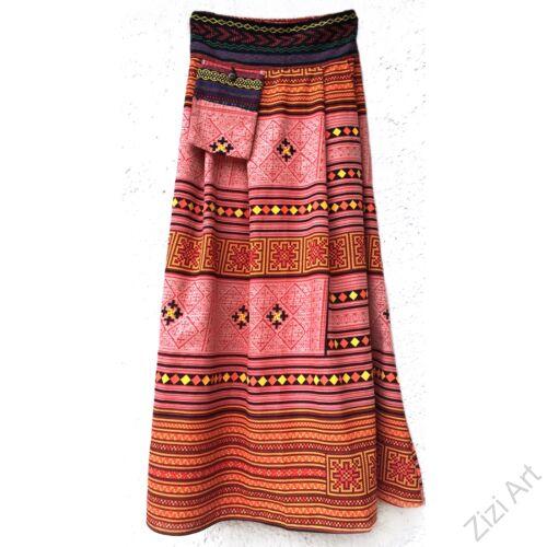 színes, etno, mintás, hosszú, A-vonalú, pamut, szoknya, zsebes, női, divat, trend, extravagáns, egyedi, bohém, fekete, türkiz, kék, zöld, bézs, bordó, narancs, sárga, lila