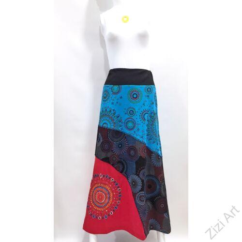 piros, fekete, kék, színes, mandalás, hosszú, A-vonalú, pamut, szoknya, női, divat, trend, extravagáns, hippi, bohém