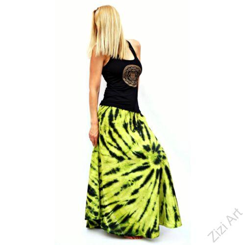 batikolt, kiwi, zöld, sárga, fekete, színes, laza, bohém, pamut, géz, hosszú, szoknya, női, divat, nyári, trend, Indonéz