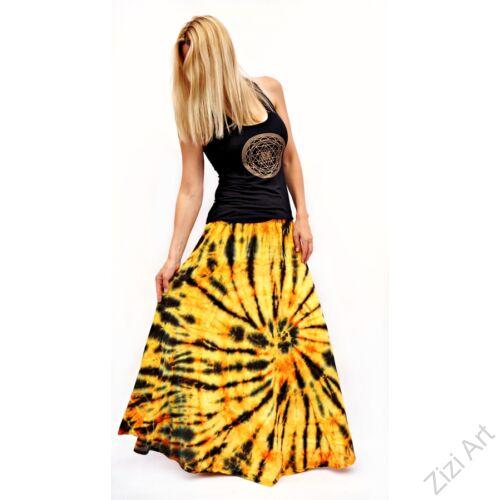 batikolt, narancs, sárga, fekete, színes, laza, bohém, pamut, géz, hosszú, szoknya, női, divat, nyári, trend, Indonéz