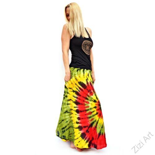 batikolt, kiwi, zöld, sárga, piros, fekete, színes, laza, bohém, pamut, géz, hosszú, szoknya, női, divat, nyári, trend, Indonéz