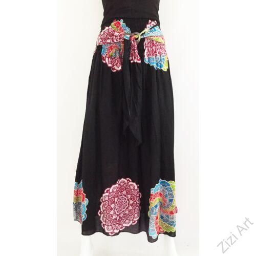 fekete, hosszú, viszkóz, mandala, színes, mintás, szoknya, A-vonalú, szellős, alkalmi, könnyű, különleges, női, divat, trend, webshop