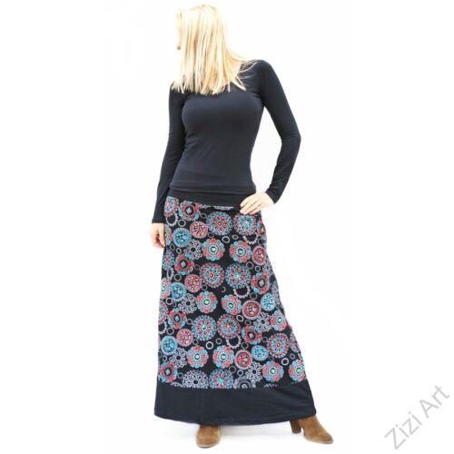 színes, fekete, kék, piros, hímzett, mandalás, hosszú, A-vonalú, pamut, szoknya, női, divat, trend, extravagáns, hippi, bohém, Nepál
