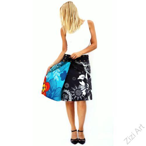 női, térd, szoknya, fekete, fehér, türkiz, kék, piros, narancs, virágos, mandala, kétoldalas, női, szoknya, trend, divat, egyedi, bohém, extravagáns, egzotikus, pamut, vászon, Nepál