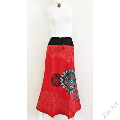 mandala, pamut, piros, hosszú, szoknya, női divat, trend, egzotikus, egyedi, különleges, elegáns, hosszú