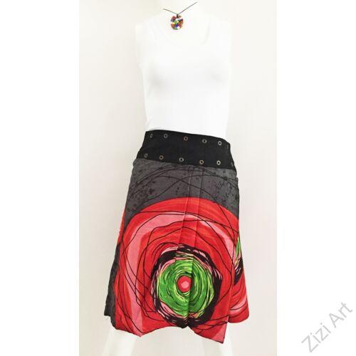 női, térd, szoknya, fekete, piros, kék, zöld, színes, virágos, mandala, mintás, kétoldalas, női, szoknya, trend, divat, egyedi, bohém, extravagáns, egzotikus, pamut, vászon, Nepál