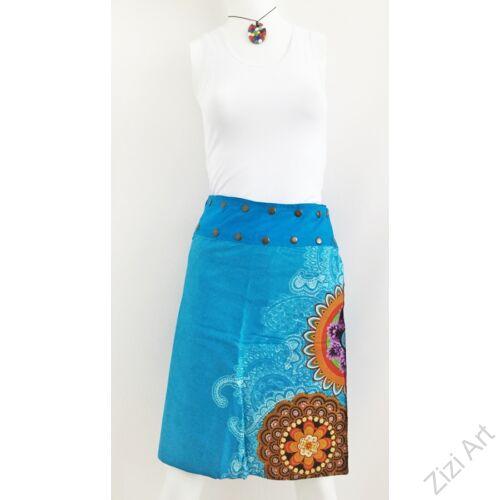 női, térd, szoknya, kék, kiwi, zöld, színes, virágos, csipke, mandala, kétoldalas, női, szoknya, trend, divat, egyedi, bohém, extravagáns, egzotikus, pamut, vászon, Nepál
