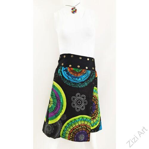 női, térd, szoknya, fekete, kék, zöld, lila, azúr, türkiz, színes, kör, mandala, kétoldalas, női, szoknya, trend, divat, egyedi, bohém, extravagáns, egzotikus, pamut, vászon, Nepál