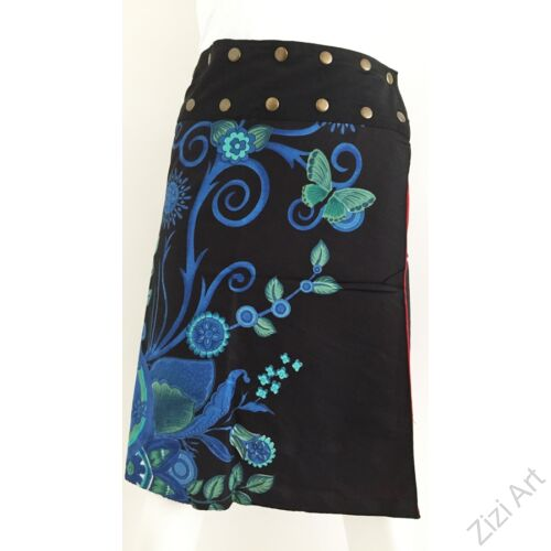 női, térd, szoknya, fekete, kék, türkiz, piros, narancs, virágos, mandala, kétoldalas, női, szoknya, trend, divat, egyedi, bohém, extravagáns, egzotikus, pamut, vászon, Nepál