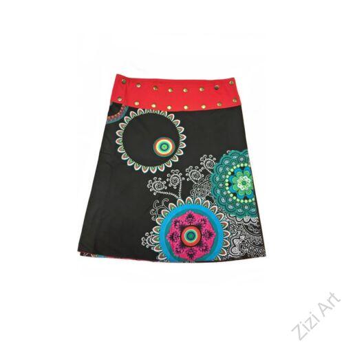 női, térd, szoknya, piros, fekete, kék, türkiz, narancs, virágos, mandala, kétoldalas, női, szoknya, trend, divat, egyedi, bohém, extravagáns, egzotikus, pamut, vászon, Nepál