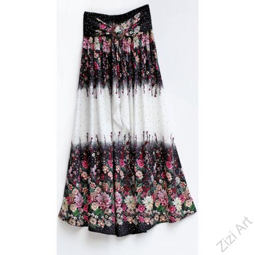 fehér, fekete, hosszú, viszkóz, színes, virágos, mintás, szoknya, ruha, A-vonalú, szellős, alkalmi, könnyű, különleges, női, divat, trend, webshop