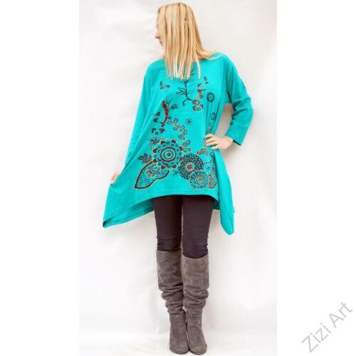 türkiz zöld, fekete, bordó, piros, sárga, színes virágos, hosszú ujjú, pamut, tunika, bő, ruha, felső, A-vonalú, Nepál, egzotikus, egyedi, vidám, élénk, különleges, női, divat, bohém, trend