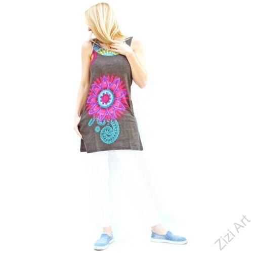 cd2dcf2f34 szürke, színes, hímzett, virágszirmos, mintás, ujjatlan, pamut, ruha,