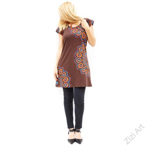 barna, színes, hímzett, nagy, mandala, mintás, pamut, rövid, ujjú, tunika, ruha, felső, pamut, Nepál, virágos, egzotikus, egyedi, vidám, élénk, különleges