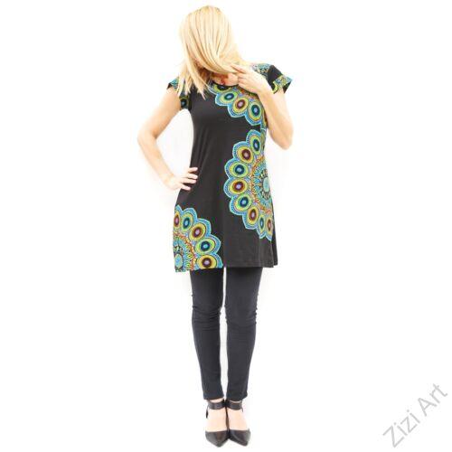 fekete, színes, hímzett, nagy, mandala, mintás, pamut, rövid, ujjú, tunika, ruha, felső, pamut, Nepál, virágos, egzotikus, egyedi, vidám, élénk, különleges