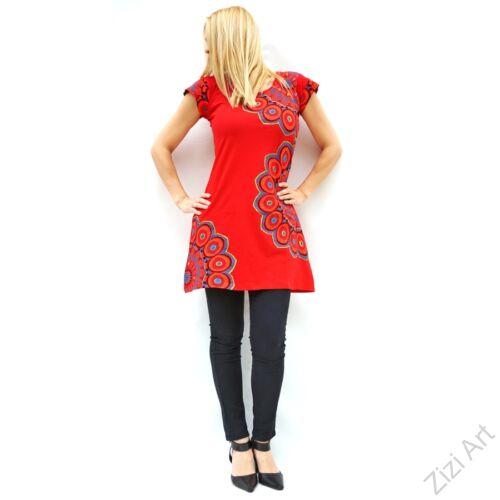 piros, színes, hímzett, nagy, mandala, mintás, pamut, rövid, ujjú, tunika, ruha, felső, pamut, Nepál, virágos, egzotikus, egyedi, vidám, élénk, különleges