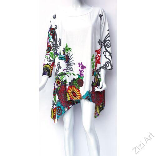 pamut, tunika, bő, ruha, felső, fehér, színes, virágos, hosszú ujjú, A-vonalú, Nepál, egyedi, különleges, női, divat, bohém, trend