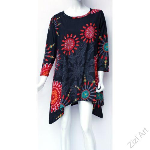 pamut, tunika, bő, ruha, felső, fekete, színes, piros, narancs, zöld, hosszú ujjú, A-vonalú, Nepál, mandala, kör, virág, egzotikus, egyedi, különleges, női, divat, bohém, trend