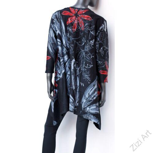 hosszú ujjú, pamut, tunika, bő, ruha, felső, fekete, piros, fehér, A-vonalú, virág, egzotikus, egyedi, női, divat, bohém, trend, színes