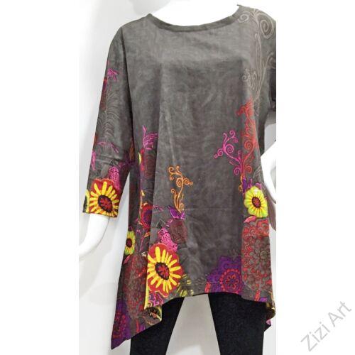 piros, színes virágos, hosszú ujjú, pamut, tunika, bő, ruha, felső, A-vonalú, Nepál, egzotikus, egyedi, vidám, élénk, különleges, női, divat, bohém, trend