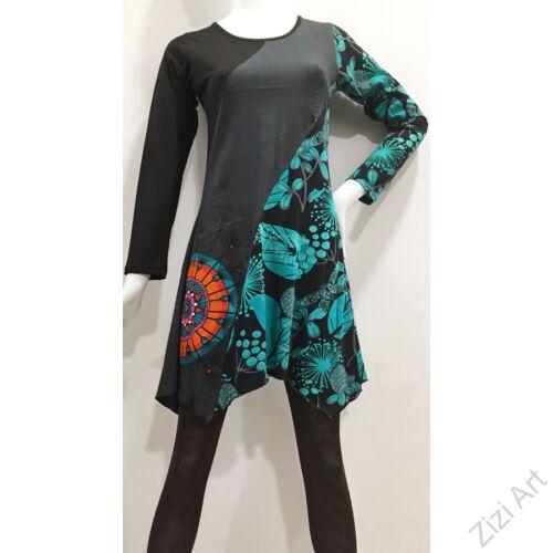 fekete, szürke, azúr, zöld, narancssárga, hosszú ujjú, levél, mintás, tunika, felső, pamut, ruha, inda, nepál, egzotikus, egyedi, élénk, különleges, női divat, trend