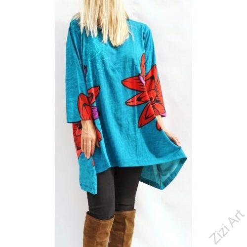 türkiz, kék, piros, lila, színes virágos, hosszú ujjú, pamut, tunika, bő, ruha, felső, A-vonalú, Nepál, egzotikus, egyedi, vidám, élénk, különleges, női, divat, bohém, trend