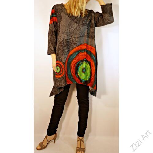 barna, fehér, piros, kék, türkiz, fekete, szürke, hosszú ujjú, pamut, tunika, bő, ruha, felső, A-vonalú, Nepál, csipke, mandala, kör, virág, egzotikus, egyedi, vidám, élénk, különleges, női, divat, bohém, trend, színes