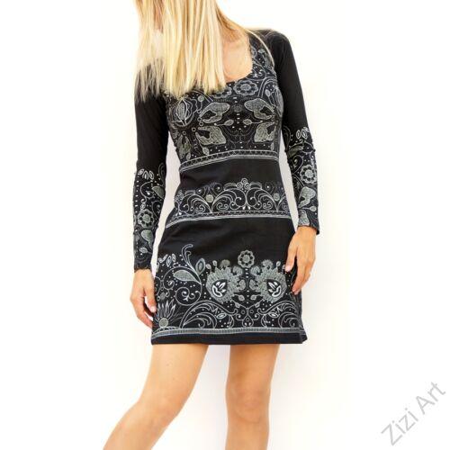 fekete, fehér, virágos, hosszú ujjú, pamut, tunika, ruha, pamut, Nepál, ruha, virágos, egzotikus, egyedi, vidám, elegáns, különleges, női, divat, bohém, trend