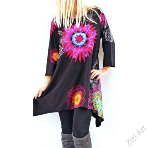 fekete, fehér, piros, kék, türkiz, fekete, szürke, hosszú ujjú, pamut, tunika, bő, ruha, felső, A-vonalú, Nepál, mandala, kör, virág, egzotikus, egyedi, vidám, élénk, különleges, női, divat, bohém, trend, színes