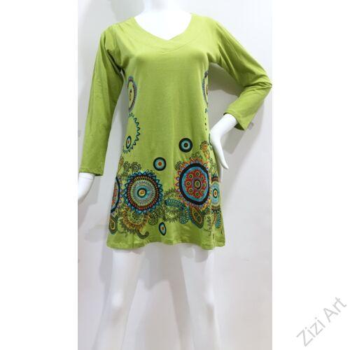 kék, piros, fekete, zöld, kiwi, virág, mandala, mintás, hosszú ujjú, pamut, tunika, ruha, felső, Nepál, egzotikus, egyedi, különleges, női, divat, bohém, trend