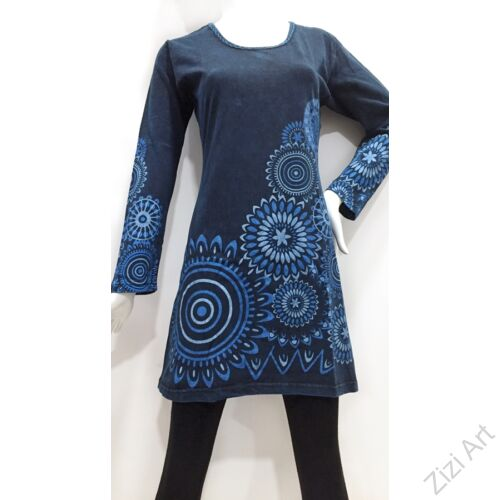 kék, mandala, mintás, hosszú ujjú, tunika, felső, pamut, Nepál, ruha, nepáli, színes, virágos, egzotikus, egyedi, vidám, élénk, elegáns, bohém, különleges