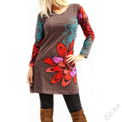 szürke, kék, piros, lila, virágos, hosszú ujjú, pamut, tunika, ruha, felső, Nepál, csipke, mandala, kör, egzotikus, egyedi, vidám, élénk, különleges, női, divat, bohém, trend