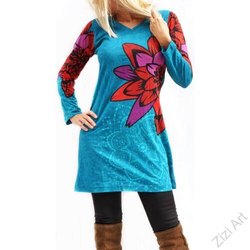 türkiz, kék, piros, lila, virágos, hosszú ujjú, pamut, tunika, ruha, felső, Nepál, csipke, mandala, kör, egzotikus, egyedi, vidám, élénk, különleges, női, divat, bohém, trend
