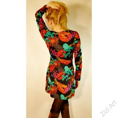 fekete, narancs, narancssárga, zöld, hosszú ujjú, leveles, szitakötős, tunika, felső, pamut, Nepál, ruha, inda, mandala, egzotikus, egyedi, káprázatos, vidám, élénk, különleges, női divat, trend