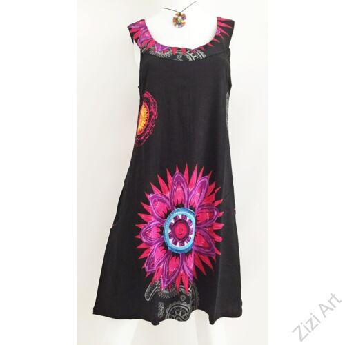 fekete, színes, hímzett, virágszirmos, mintás, ujjatlan, pamut, ruha, tunika, felső, női, divat, ruházat, trend, Nepál, egzotikus, egyedi, különleges, bohém, extravagáns, elegáns