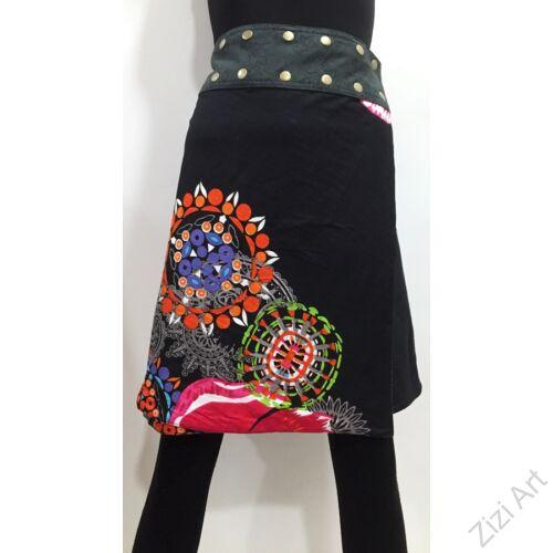 női, térd, kétoldalas, szoknya, vastag, pamut, színes, fekete, piros, kék, zöld, virágos, mandala, női, divat, egyedi, bohém, extravagáns, egzotikus, trend, Nepál