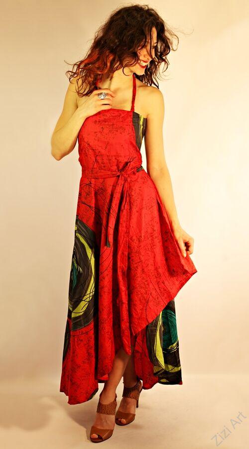 fd8cfba178 piros, zöld, szürke, hosszú, pamut, ruha, nepál, átlapolt, Katt rá a  felnagyításhoz