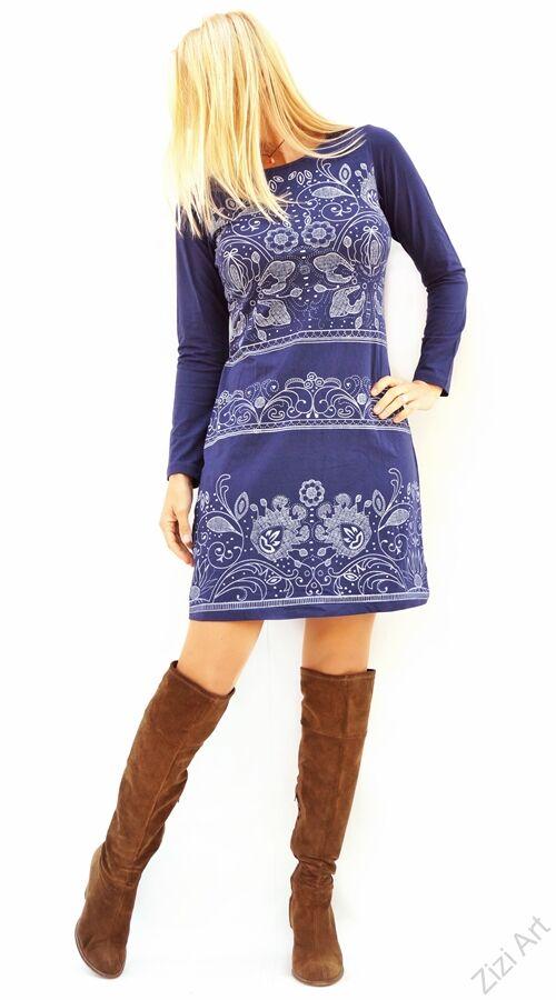 d6743772d1 kék, fehér, virágos, hosszú ujjú, pamut, tunika, ruha, pamut Katt rá a  felnagyításhoz