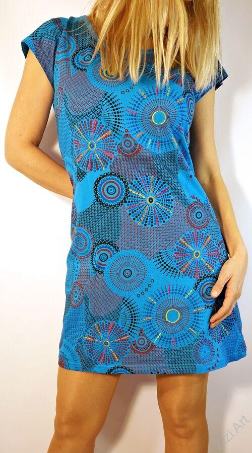 b1f858a850 világos, kék, színes, rövid, ujjú, pamut, mini, ruha, Katt rá a  felnagyításhoz